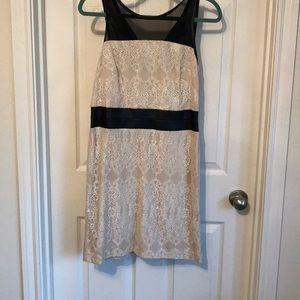 Lace Kenzie dress. Off white, faux leather trim